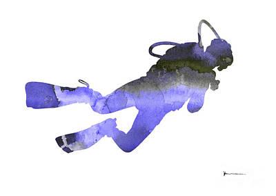 Scuba Diver Watercolor Silhouette Poster by Joanna Szmerdt