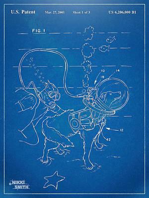 Scuba Doggie Patent Artwork 1893 Poster
