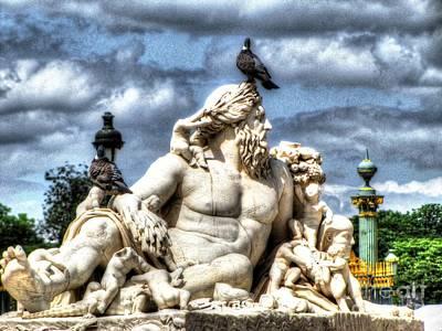 Sculptur And Birds Paris  Poster