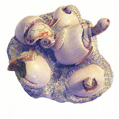 Sculpture Of Sea Turtles Hatching Poster
