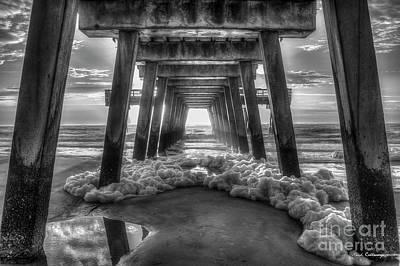 Sea Foam B W Tybee Island Pier Savannah Georgia Art Poster