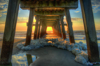 Sea Foam Tybee Island Pier Sunrise Art Poster
