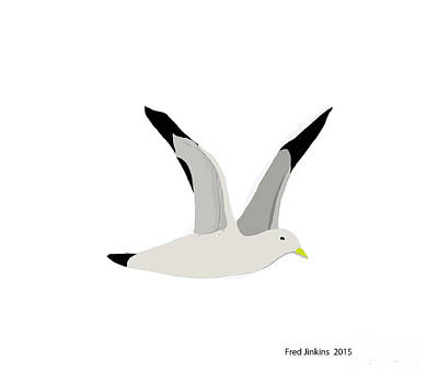 Sea Gull Flying Poster by Fred Jinkins