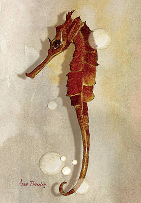 Sea Horse In Watercolor Poster by Anne Beverley-Stamps