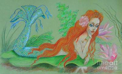 Sea Siren, Resting -- Whimsical Mermaid Drawing Poster by Jayne Somogy