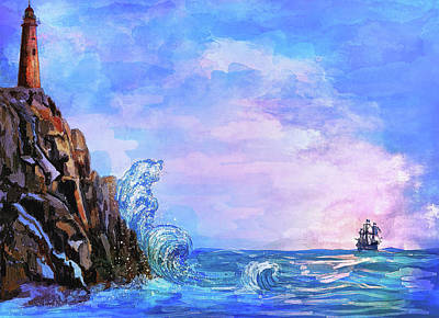 Poster featuring the painting Sea Stories 2  by Andrzej Szczerski