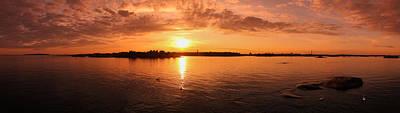 Sea Sunset Over Helsinki Panorama Poster