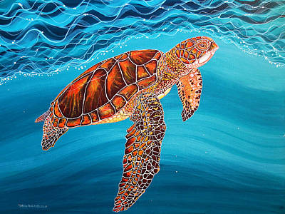 Poster featuring the painting Sea Turtle by Debbie Chamberlin