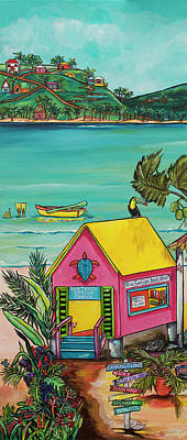 Poster featuring the painting Sea Turtle Rescue Center by Patti Schermerhorn