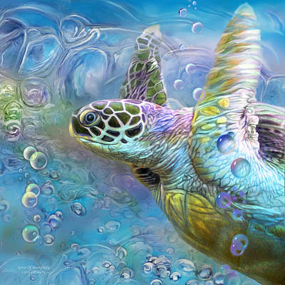 Poster featuring the mixed media Sea Turtle - Spirit Of Serendipity by Carol Cavalaris