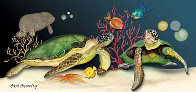 Sea Turtles Poster by Anne Beverley-Stamps