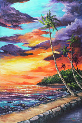 Poster featuring the painting Sea Wall Lahaina by Darice Machel McGuire