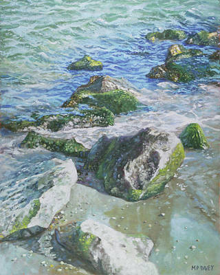 Poster featuring the painting Sea Water With Rocks On Shore by Martin Davey