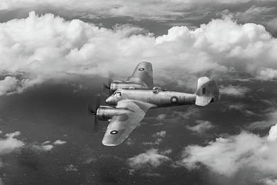 Poster featuring the photograph Seac Beaufighter Bw Version by Gary Eason