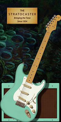 Seafoam Stratocaster Anniversary Poster by WB Johnston