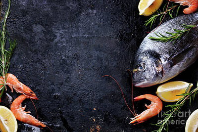 Seafood On Black Background Poster