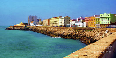 Seafront Promenade In Cadiz Poster