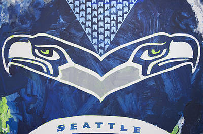 Poster featuring the painting Seahawks Helmet by Candace Shrope
