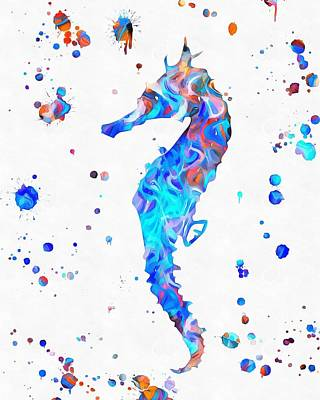 Seahorse Paint Splatter Poster by Dan Sproul