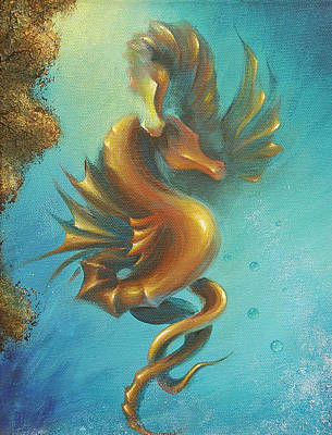 Poster featuring the painting Seahorses In Love II  by Dina Dargo