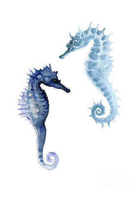 Seahorses Watercolor Painting Poster by Joanna Szmerdt
