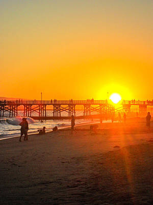 Seal Beach Pier Sunset Poster by Mark Barclay