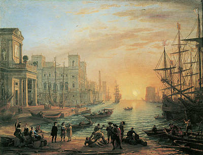 Seaport At Sunset Poster