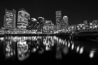 Seaport Bridge Boston Skyline Reflection Boston Ma Black And White Poster by Toby McGuire