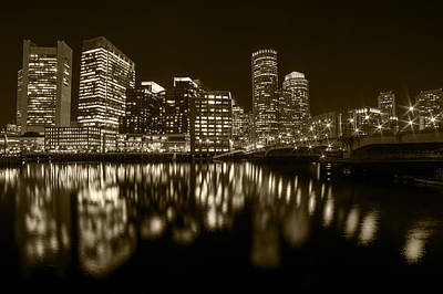 Seaport Bridge Boston Skyline Reflection Boston Ma Sepia Poster