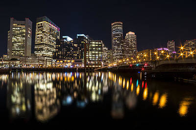 Seaport Bridge Boston Skyline Reflection Boston Ma Poster by Toby McGuire