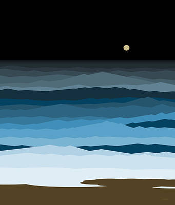 Seascape - Night Poster by Val Arie