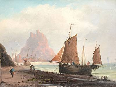 Seascape With Boats On A Beach Poster