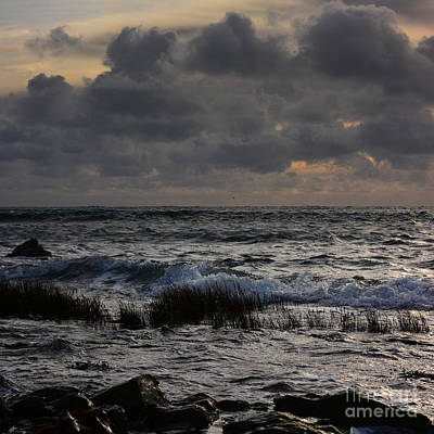 Seascape With Stormy Clouds Poster