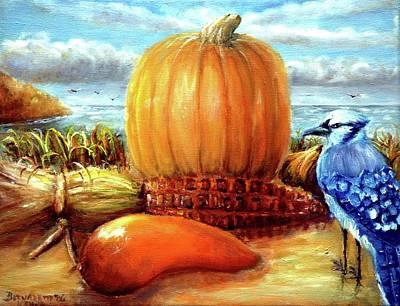 Poster featuring the painting Seashore Pumpkin  by Bernadette Krupa