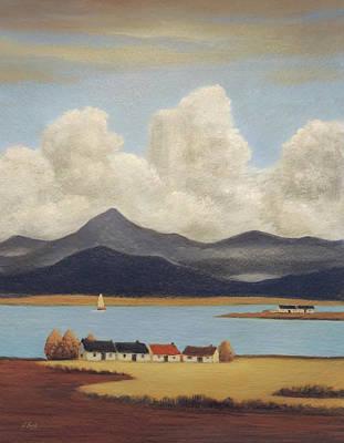 Seaside Cottages Poster by Gordon Beck