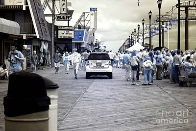 Seaside Heights Boardwalk Crowds Infrared Poster by John Rizzuto