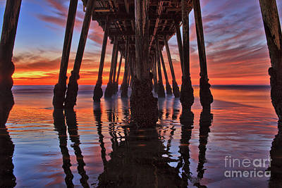 Seaside Reflections Under The Imperial Beach Pier Poster