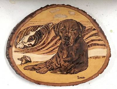 Poster featuring the pyrography Seaside Sam by Denise Tomasura