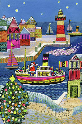 Seaside Santa Poster by Stanley Cooke