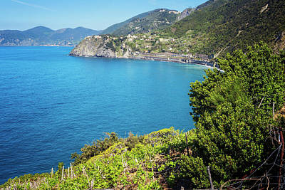 Seaside View From Manarola Cinque Terre Poster by Joan Carroll