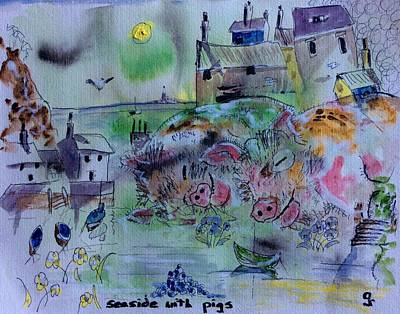 Seaside With Pigs Poster by Gordon Bell