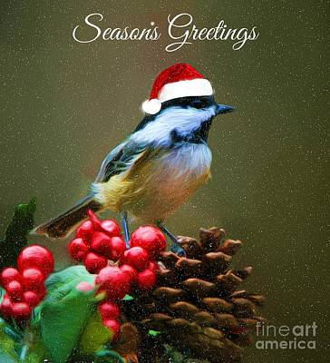 Seasons Greetings Chickadee Poster