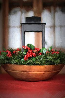 Poster featuring the photograph Seasons Greetings Christmas Centerpiece by Shelley Neff