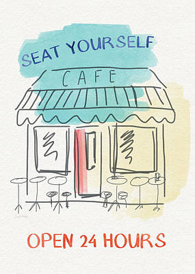 Seat Yourself Cafe- Art By Linda Woods Poster by Linda Woods