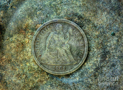Poster featuring the digital art Seated Libery Dime Coin Obverse by Randy Steele