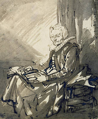 Seated Woman With An Open Book On Her Lap Poster by Rembrandt