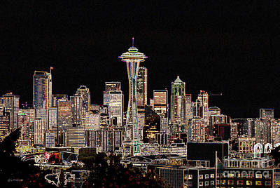 Seattle A Glow Poster by Larry Keahey