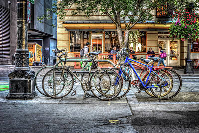 Poster featuring the photograph Seattle Bicycles by Spencer McDonald