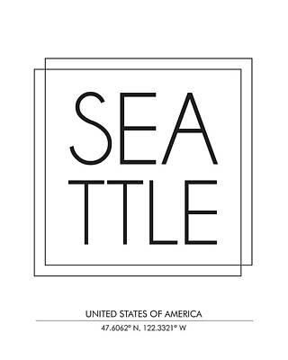 Seattle, United States Of America - City Name Typography - Minimalist City Posters Poster