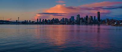 Seattle Dusk Skyline Details Reflection Poster